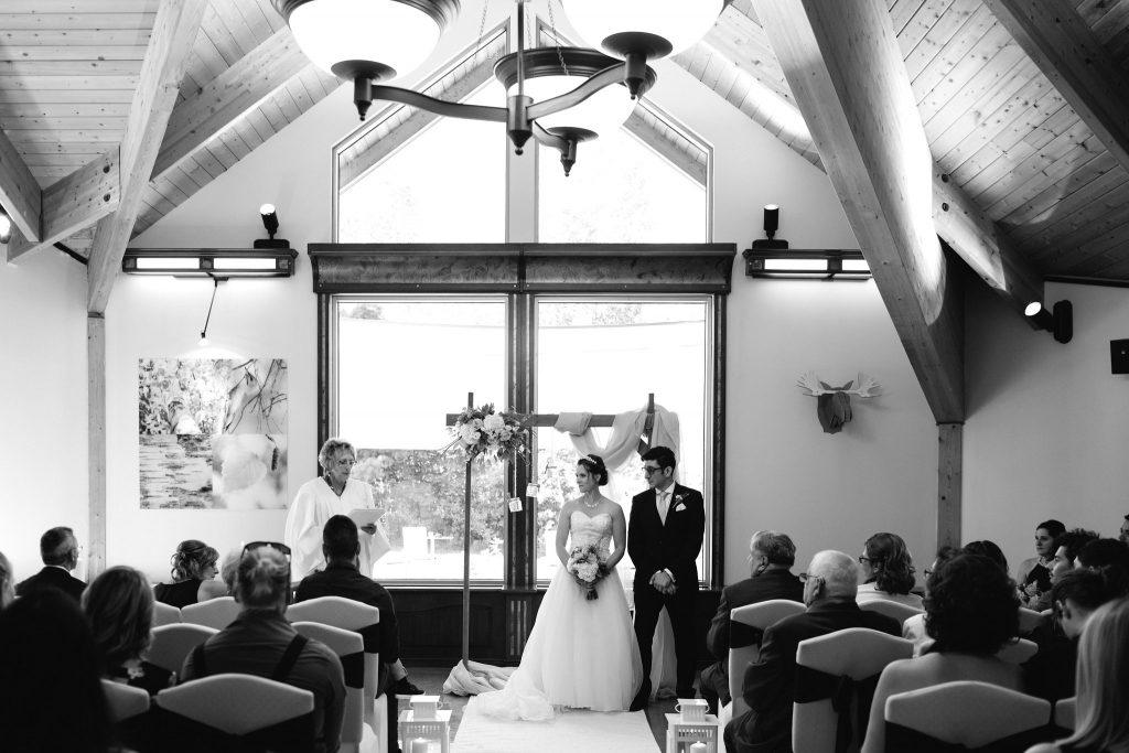 Wedding ceremony at Auberge Lac-à-l'Eau-Claire, Quebec