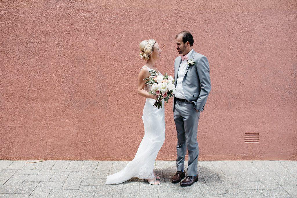 Fremantle wedding, colourful wall