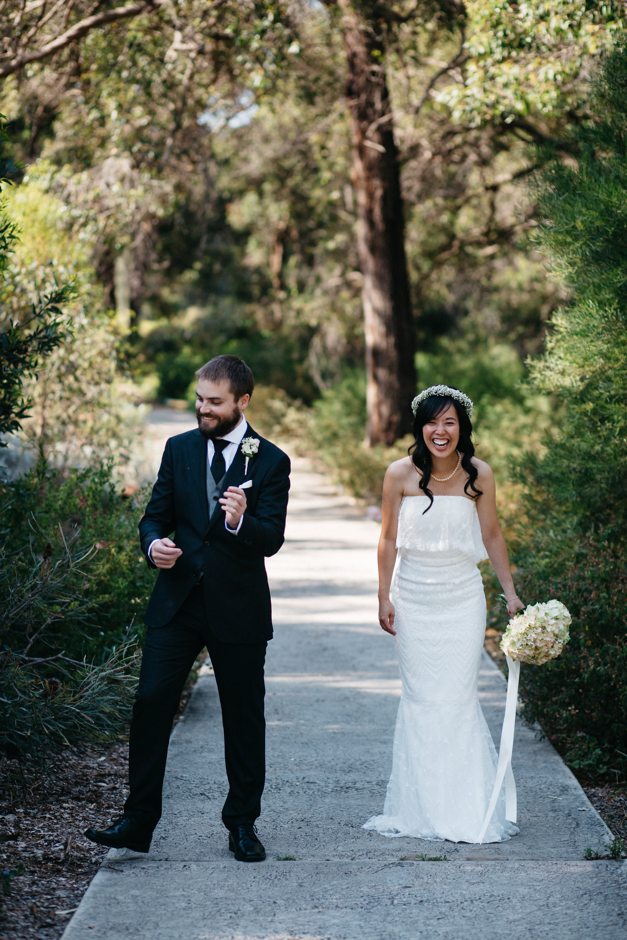 laughter, bride and groom, Perth Kings Park Wedding