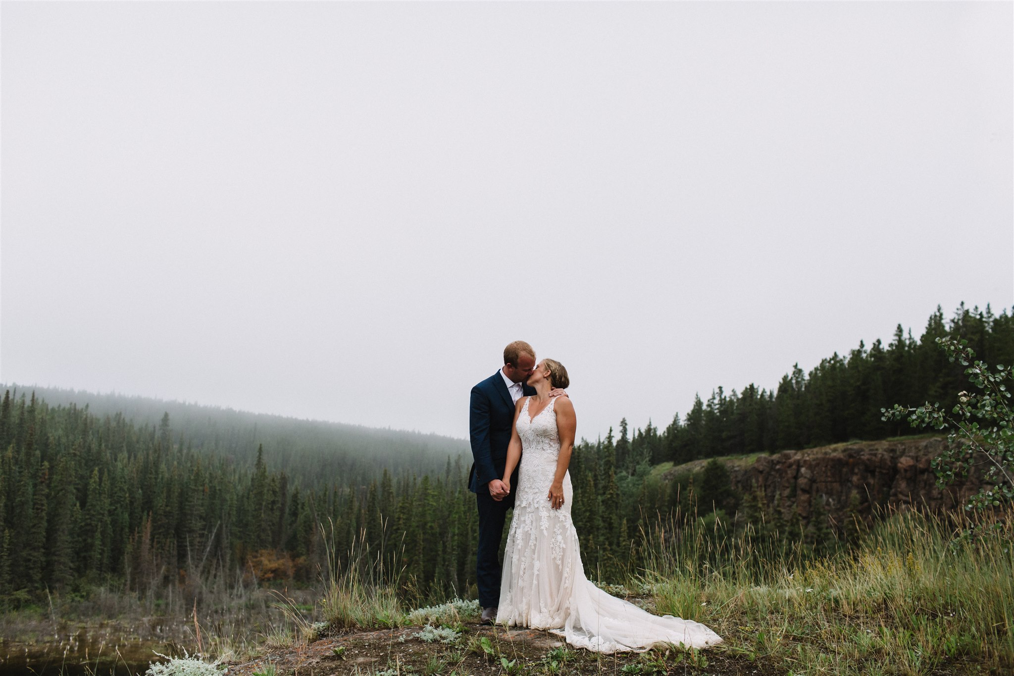 Foggy mountain elopement in Whitehorse, Yukon