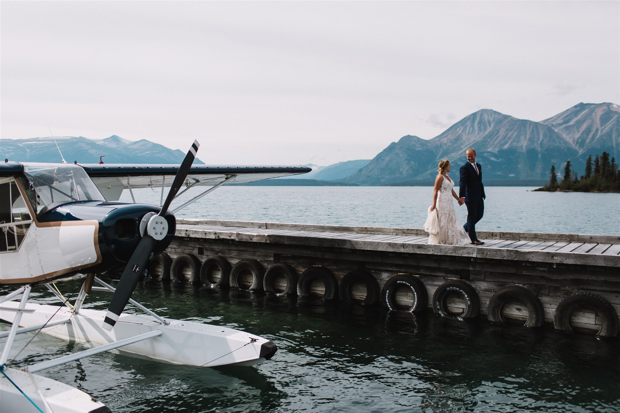 Bridal photography, light aircraft, British Columbia