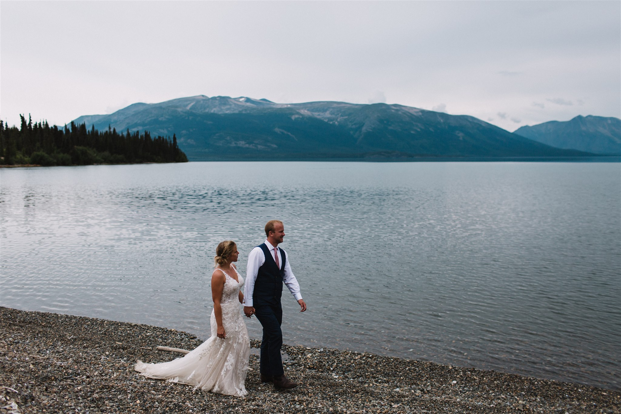 Lake views with bride and groom