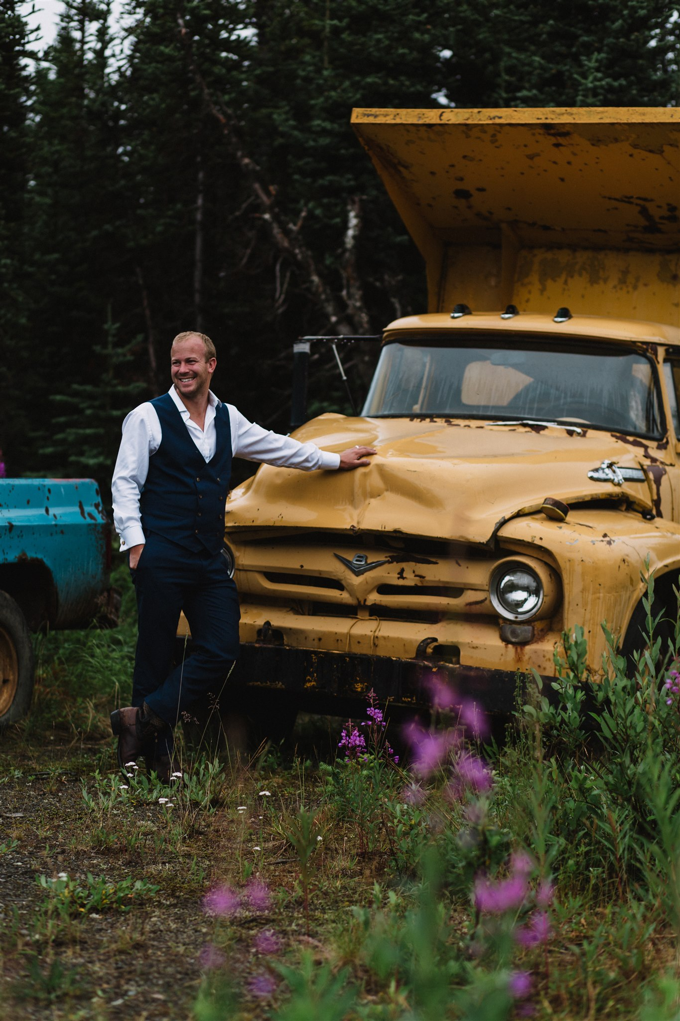 Wedding photography in historic mining town, Atlin, BC.