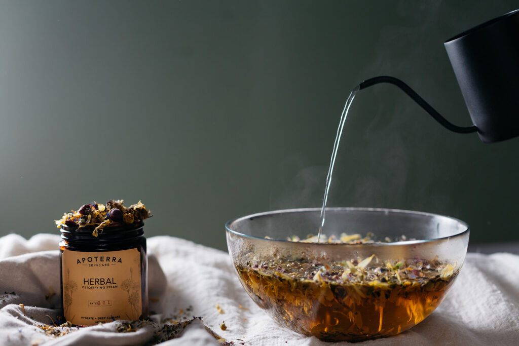 Herbal face steam photographed by Montreal photographer.