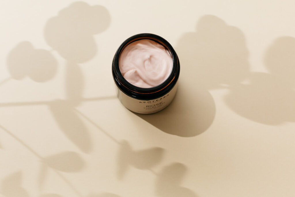 Pot of skincare cream photographed in Montreal.